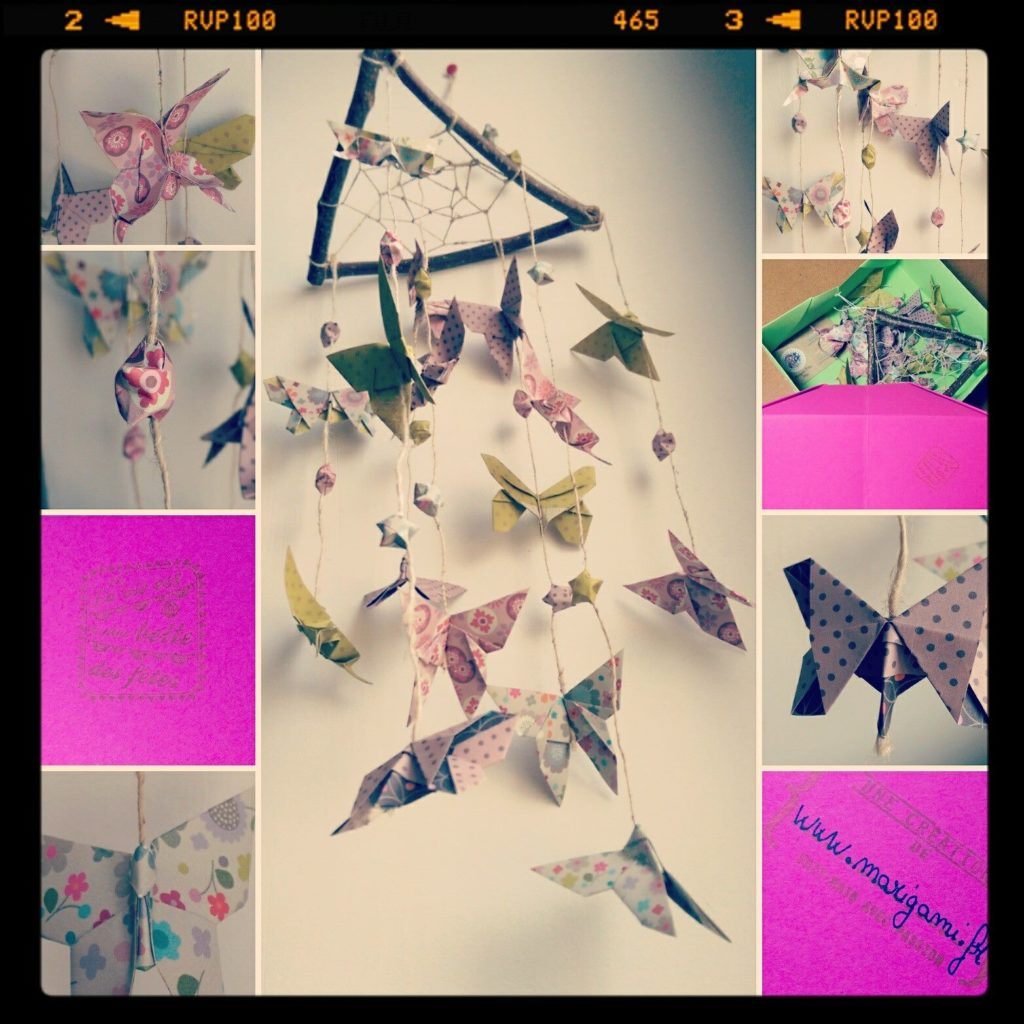 marigami origami mobile attrape rêve papillon