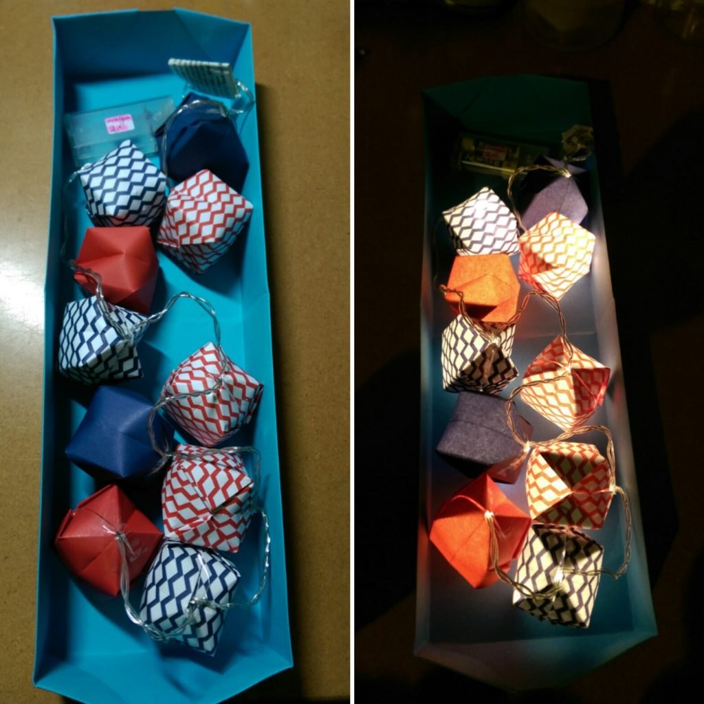 marigami origami guirlande lumineuse 10led bleu et rouge