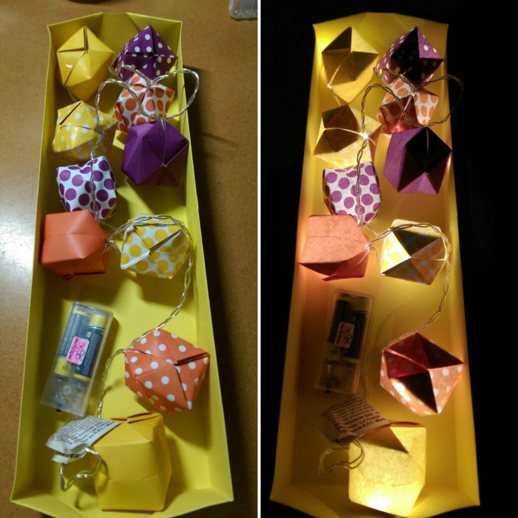 marigami origami guirlande lumineuse 10led violet et jaune