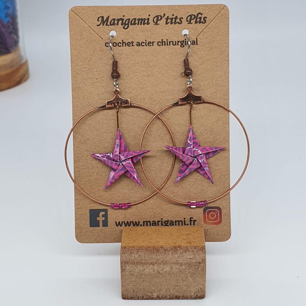 marigami origami boucles d'oreilles étoile rose