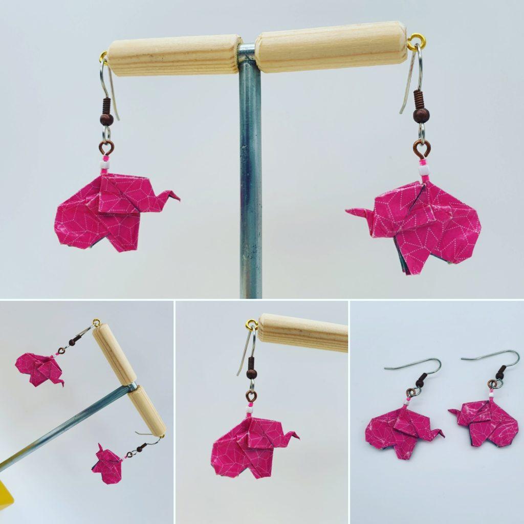 marigami origami boucle d oreille éléphant rose