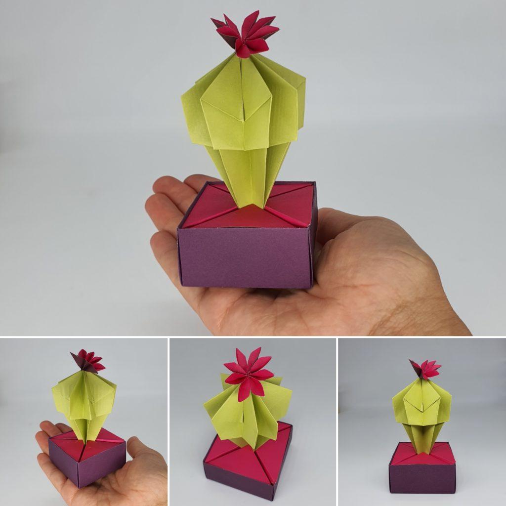 marigami origami cactus rose et vert