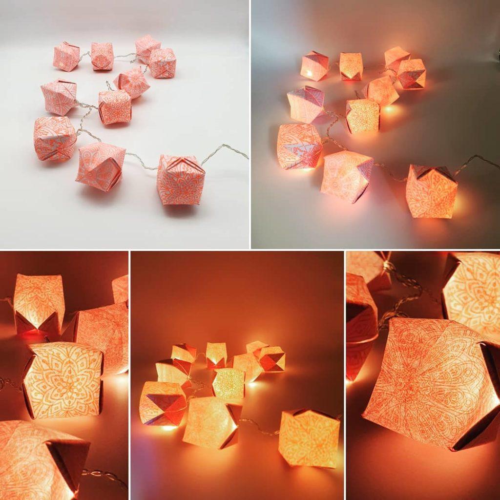 marigami origami guirlande lumineuse 10led rose corail