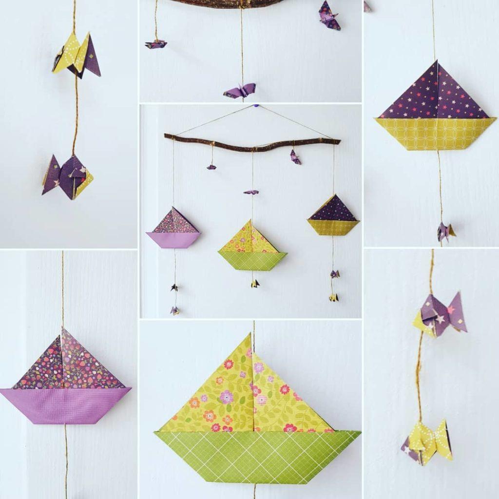 marigami origami mobile voilier vert et violet