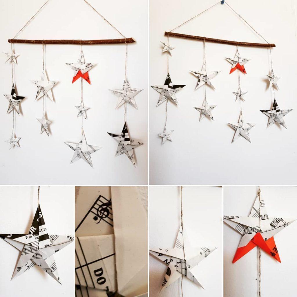 marigami origami mobile étoiles partition de musique