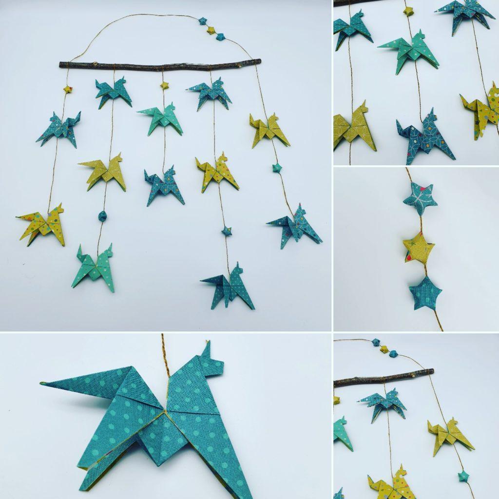 marigami origami mobile 12 figurines licorne bleu et vert