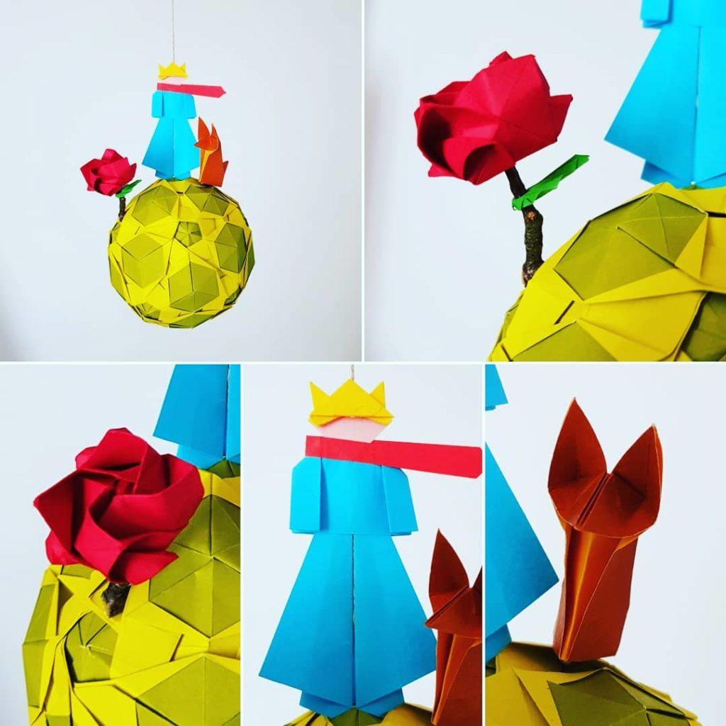 marigami origami mobile petit prince vert anis