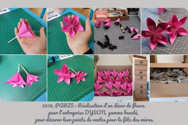 Réalisation d'un décor de fleurs pour l'entreprise DYSON pour la fête des mères fleurogami