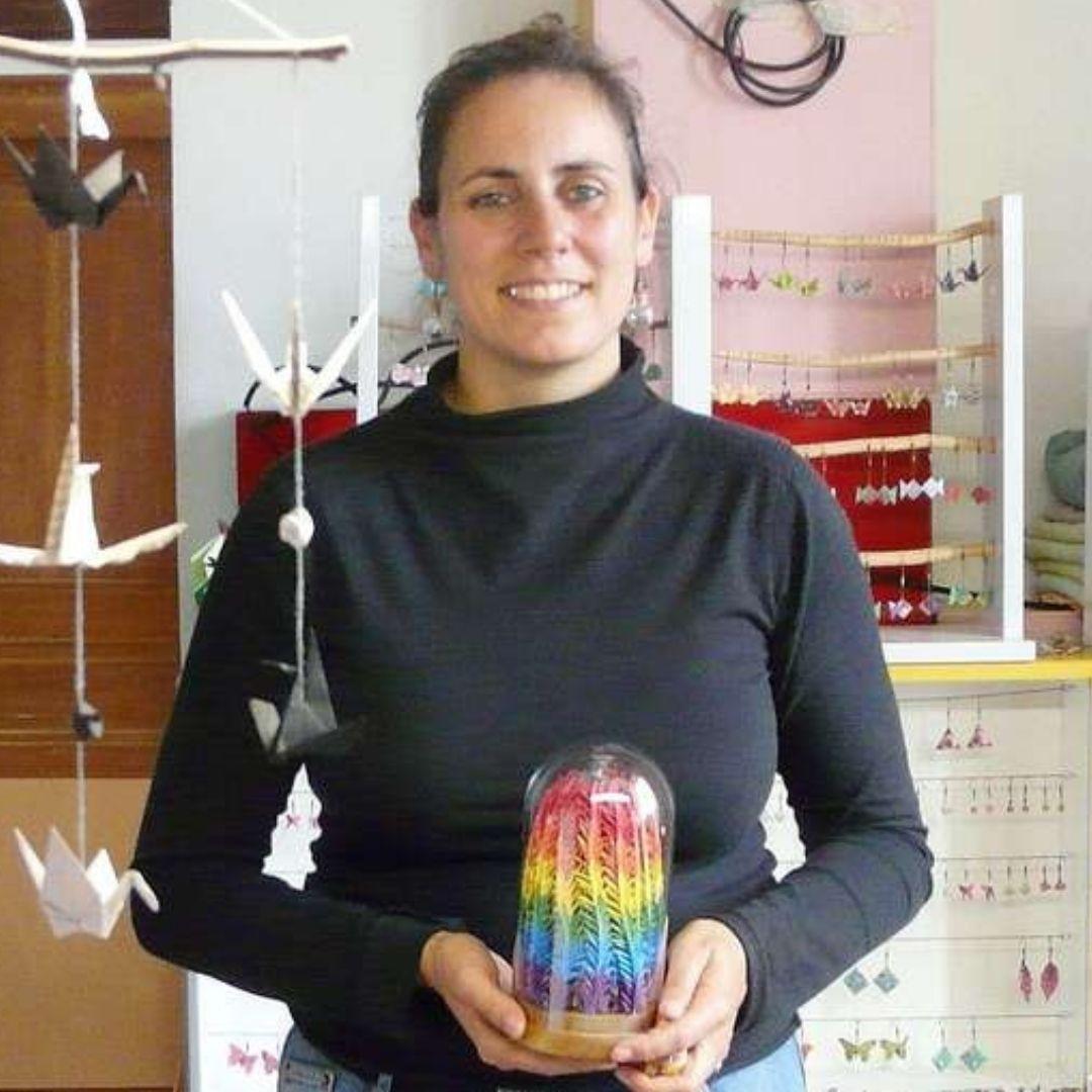 marigami origami portrait avec le senbazuru