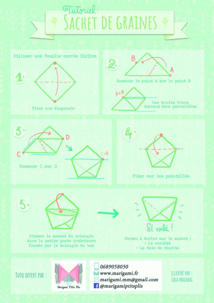 marigami origami tutoriel origami sachet de graine